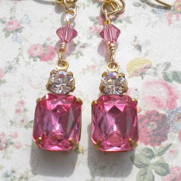 Rose Pink Art Deco Vintage Rhinestone Pendant Earrings w Clear Rhinestone Accents Rose Swarovski Crystals