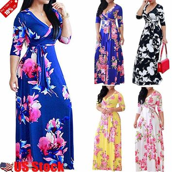 US STOCK WOMEN'S V-NECK WRAP LONG SLEEVE FLORAL PRINT BOHO MAXI LONG LOOSE DRESS