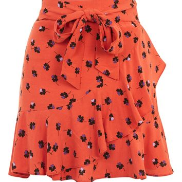Red Flower Ruffle Mini Skirt - New In Fashion - New In