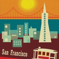 Retro 50's style of Downtown San Francisco, California Skyline - Vertical Travel Poster Print Art - style E8-O-SF5