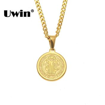 Uwin Christian Holy Bible Jewelry Benedict Badge Saint Exorcism Pendants Necklaces Women Stainless Steel Gold Color Cuban Chain