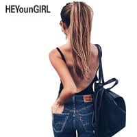 HEYounGIRL 2017 Summer Bodysuits Women Big Hollow Out Back Sexy Club Camisole Solid Rompers Sheath Playsuit Bodycon Jumpsuits