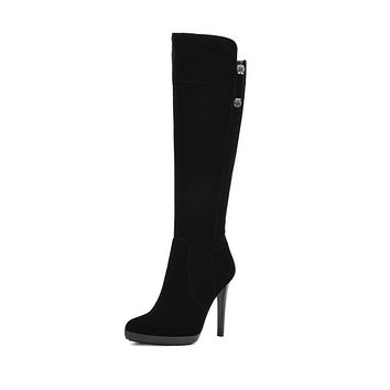 Pointed Toe Zipper High Heels Tall Boots for Women 5537
