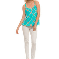 Light Up The Season Tank Top - Aqua