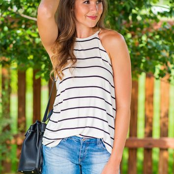 Strike it Up Striped Tank: Off White