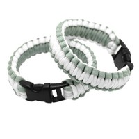MJartoria Outdoor Sports Silver and White Strands Braided Fire Starter Buckle Paracord Bracelets Set of 2