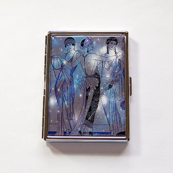 Flapper Cigarette Case, Art Deco Cigarette Case, Slim Cigarette Case, Cigarette Holder, Cigarette box, Art Deco, Blue, Purple (6022)