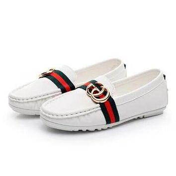 Gucci Trending Women Stylish Red Green Stripe Low Top Metal Color Flat Single Shoe Doug Shoes White I12699-1