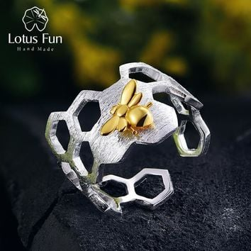 Lotus Fun Real 925 Sterling Silver Natural Handmade Fine Jewelry Honeycomb Open Ring Home Guard Gold Bee Rings for Women Bijoux