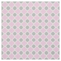 Pink White Gray Quatrefoil Pattern Fabric