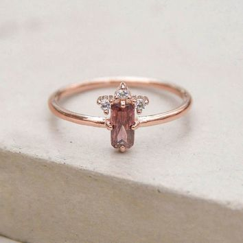 Baguette Crown Ring - Rose Gold + Pink