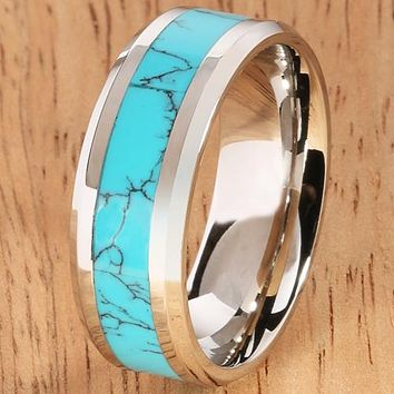 8mm Blue Turquoise Inlaid Stainless Beveled Edge Wedding Ring