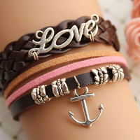 Port of love,retro silver love letters and anchor bracelet,yellow braid leather bracelet,brown leather chain---B094