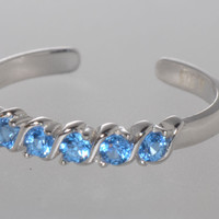 925 Sterling Silver Adjustable Toe Ring Single Row Blue CZ Stones