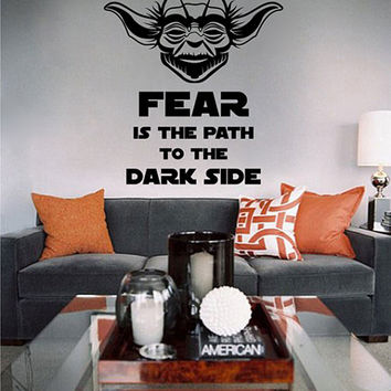 kik2279 Wall Decal Sticker Jedi master Yoda instruction fear dark side Star Wars hall bedroom