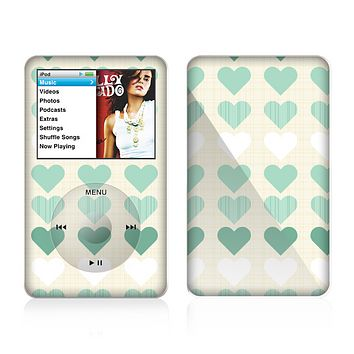 The Scratched Vintage Green Hearts Skin For The Apple iPod Classic