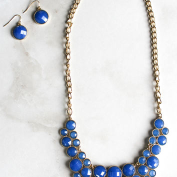Gameday Crowd Necklace and Earring Set in Blue
