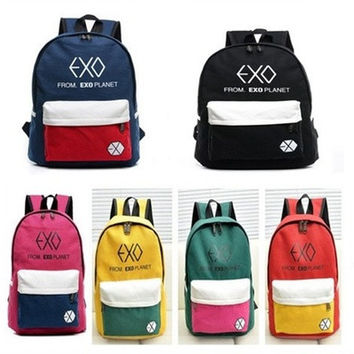 EXO FROMPLANET KRIS LUHAN SEHUN CANVAS BAG SCHOOLBAG BACKPACK KPOP NEW [8081692295]