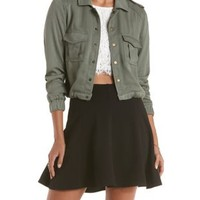 Olive Cropped Drawstring Twill Utility Jacket by Charlotte Russe
