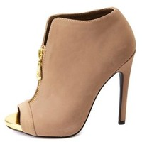 Zip-Up Peep Toe High Heel Ankle Booties by Charlotte Russe - Taupe