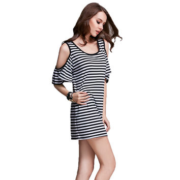Striped Flounced Butterfly Sleeve Strap Dress