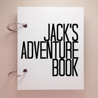 Custom journal, notebook, sketchbook, diary, ring binder, blank notepad, typography customized, personalized, adventure book, your name
