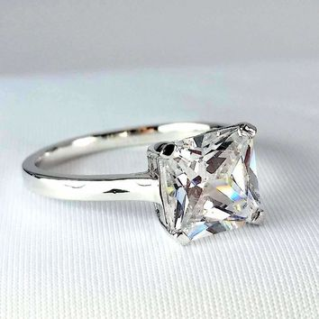 ON SALE - Indira 3CT Princess Cut Solitaire IOBI Lab Created Diamond Ring