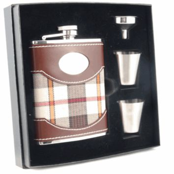 Visol Braw Plaid and Brown Leather Deluxe Hip Flask Gift Set - 6 oz