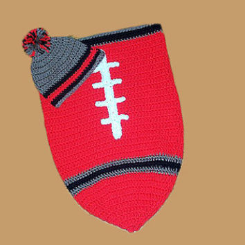 Tampa Bay Buccaneers Inspired Football Baby Cocoon & Hat (Newborn to 3 months)
