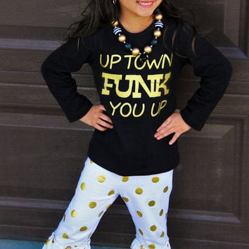 Big Sale! Uptown Funk You Up White Gold Polka Dot Boutique Outfit For Girls  Infants 74d0d2c38