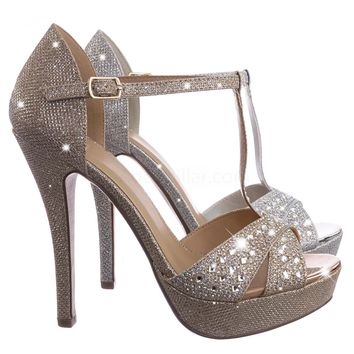 Jenice Rhinestone Crystal Glitter Sandal - Women Evening Shimmering Dance Shoes