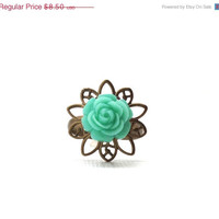 Mothers Day Sale Mint Green Rose Ring, Antique Brass