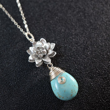 Turquiose Necklace - Lotus Flower Necklace - Sterling Silver Natural Teardrop Turquoise - Yoga Necklace - Genuine Turquoise Pendant