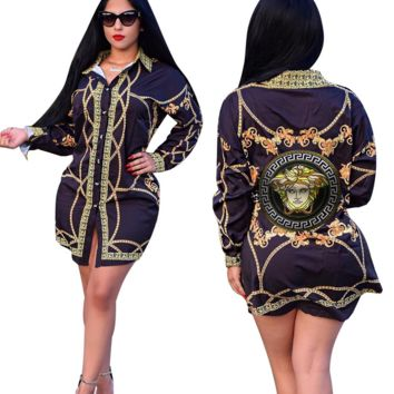 VERSACE Floral Shirt Dress J1386