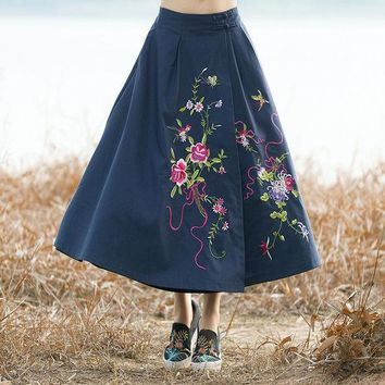 DCCKNY6 Ethnic Style Skirt Autumn Winter Vintage Fashion Women Elastic High Waist Embroidery Pattern Ankle Length Skirts Ladies New