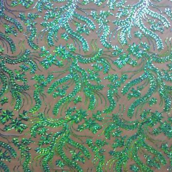 Sequin Floral Reef Lace Fabric By The Yard