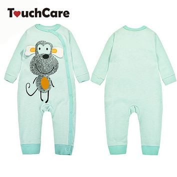 Infant Cute Cartoon Animal Monkey Printed Baby Boy Girl Rompers Newborn Cotton Long Sleeve Clothes Stripe Costume