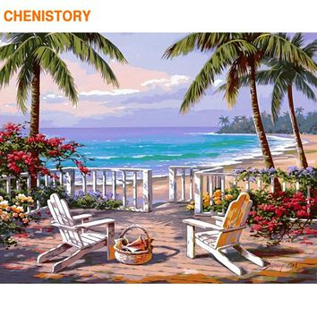 CHENISTORY Frameless Beachside DIY Painting By Numbers Landscape Modern Wall Art Decor Acrylic Calligraphy Painting For Home Art