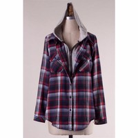 Flannel Hooded Plaid Button Up Shirt Navy & Gray