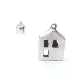 Miniature cottage pendant hand sculpted from recycled fine silver