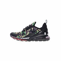 Nike Air Max 270 x A Bathing APE Bape Shark Green Camo Running Shoes