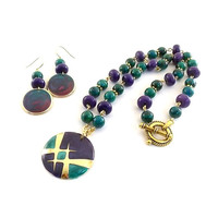 Purple and Teal Beaded Necklace and Earring Set