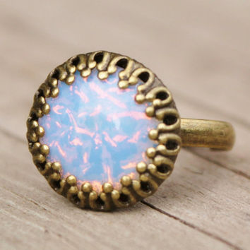 Pinfire Opal Ring,Vintage White Pinfire Opal Adjustable Brass Ring,Crown Setting,White Opal,Opal Ring,Casual,Everday,RARE Size/Shape Opal