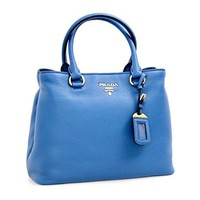 Prada Women's 1BA058 Blue Leather Shoulder Bag
