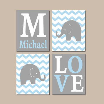 Baby Boy Nursery Wall Art, Elephant Gray Blue Chevron Artwork, Boy Bedroom, Love Name Decor, Canvas or Prints Set of 4 Choose Your Colors