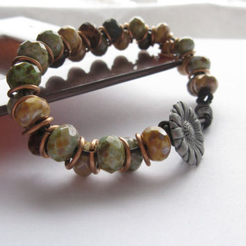 Boho Beaded Leather Bracelet, Brown leather, Picasso Beads, Jumpring bracelet, Chunky bracelet