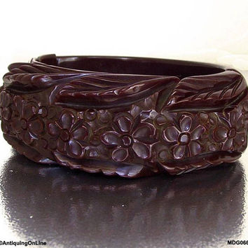 Bakelite Coffee Bean Deeply Carved Bangle Bracelet, Dark Brown Carved Flowers Leaves Hinged Bracelet Clamper Bracelet