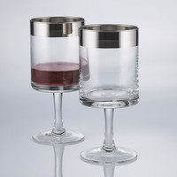 Silver Rim Wine Glasses - Set of 2