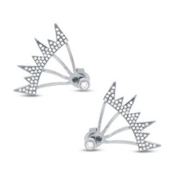 0.38ct 14k White Gold Diamond Pave Ear Jacket Earring with Studs