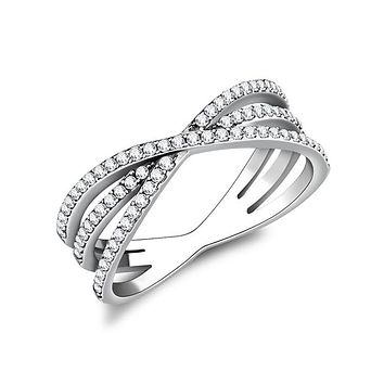 Sparkling Embellishment - Women's Cross Over Stainless Steel CZ Fashion Ring
